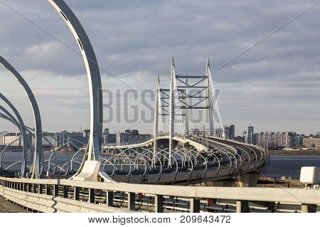 SAINT PETERSBURG, RUSSIA, MAY 07, 2017:The Western High Speed Diameter (WHSD) of St. Petersburg. The cable-stayed bridge across the Gulf of Finland.