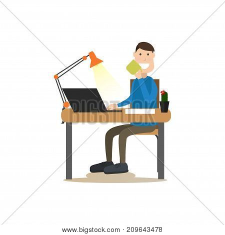 Vector illustration of office worker male using computer and drinking coffee. Coffee house people flat style design element, icon isolated on white background.