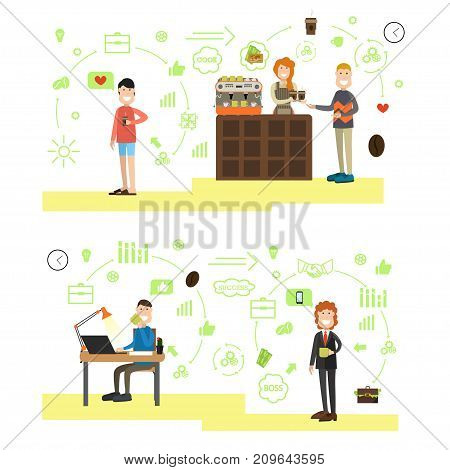 Vector illustration of successful director with cup of coffee, saleswoman serving coffee to go to customers. Coffee house people symbols, icons isolated on white background. Flat style design.