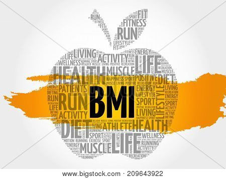 BMI - Body Mass Index apple word cloud collage health concept background