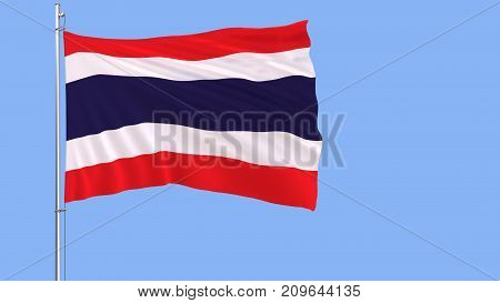 Flag of Thailand on a flagpole fluttering in the wind on blue background 3d rendering