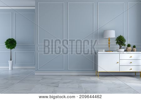 luxury modern room interior empty room white sideboard with lamp and plant on light gray wall and marble floor /3d render