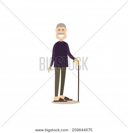Vector illustration of grandfather with walking cane. Granddad flat style design element, icon isolated on white background.