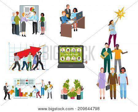 Team work people management business concept symbols flat colorful design characters vector illustration elements. Modern style togetherness cooperation team group.