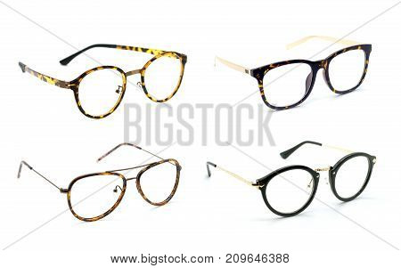 Group of modern fashionable spectacles isolated on white background Perfect reflection Glasses