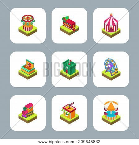 Circus isometric tent marquee with stripes and flags carnival entertainment amusement lelements flat vector. Carnival tents park arena celebration.
