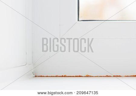 Modern metal-plastic window and door in new apartment