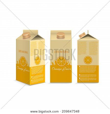 Realistic orange juice box in different projections isolated. Vector illustration
