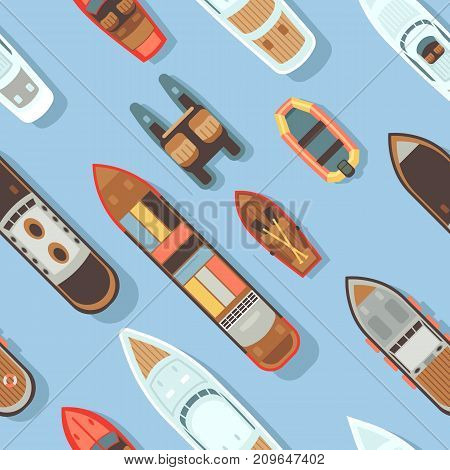 Top view sea diagonal ship and shipping boat on ocean water surface seamless texture. Vector illustration