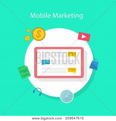 Collection stock mobile marketing design style vector illustration