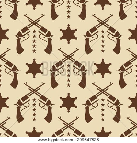 Vintage western seamless pattern with colts and sheriff star. Vector illustration