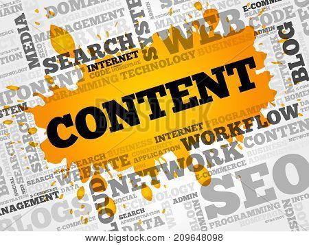 CONTENT word cloud collage , business concept