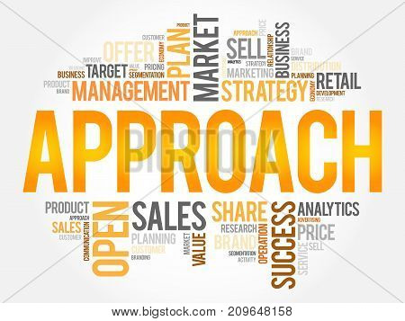 Approach word cloud collage , business concept background