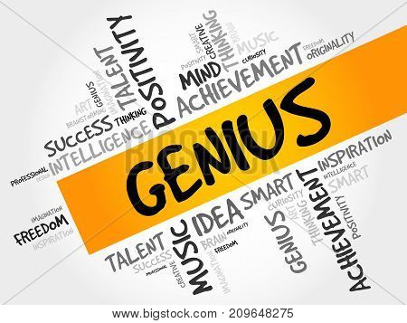 Genius word cloud collage creative business concept background