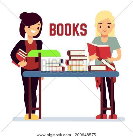 Teenager girl students reading books self education concept. Vector illustration
