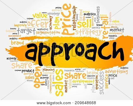 Approach word cloud collage , business concept