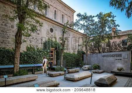 Toledo, Spain - October 13, 2017: Outdoor view of courtyard of Synagogue of Transito. It is a historic building famous for its rich stucco decoration