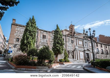 Madrid, Spain - October 15, 2017: Convent of Las Descalzas Reales in Madrid. It is a royal monastery that resides in the former palace of King Charles I of Spain in the historical centre of Madrid