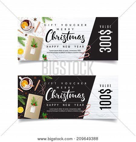 Gift Voucher Template for Christmas Promo. Design of Discount Coupon Usable for Invitation and Ticket. Vector Illustration with Festive Decoration. Beautiful Greeting Card with Seasonal Offer.