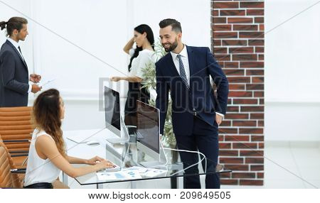 employees in the workplace in the office.