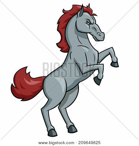 Illustration of the strong horse mascot on white background