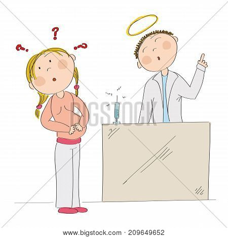 Puzzled young pregnant woman thinking about vaccination in pregnancy. Doctor standing behind depicted as a saint and arguing her into immunization. Original hand drawn illustration.