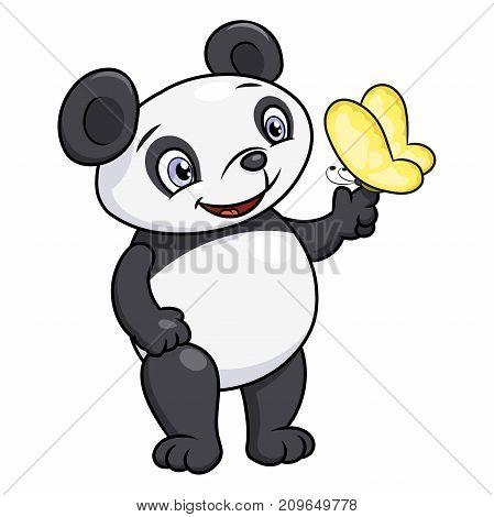Illustration of the cute little panda looking at beautiful butterfly