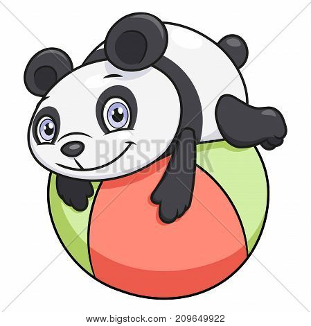Illustration of the cute little panda playing ball