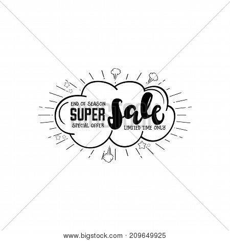 Sale web banner. Comics pop-art style bang shape