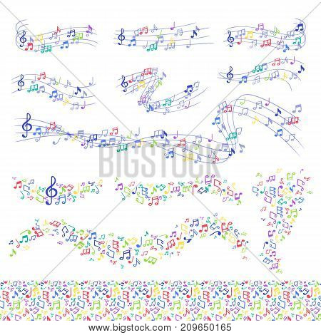 Vector notes music melody colorfull musician symbols melody text writting symphony. Music sign elements