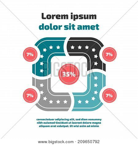 Flat design style infographic with circles and sample text