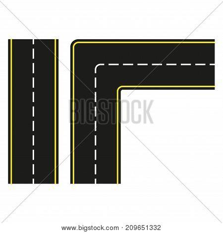 Road construction set. Seamless asphalt road isolated on white background. Vector illustration.
