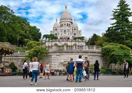 PARIS,FRANCE - JULY 31,2017 : Tourists at the Sacre Coeur Basilica in Montmartre