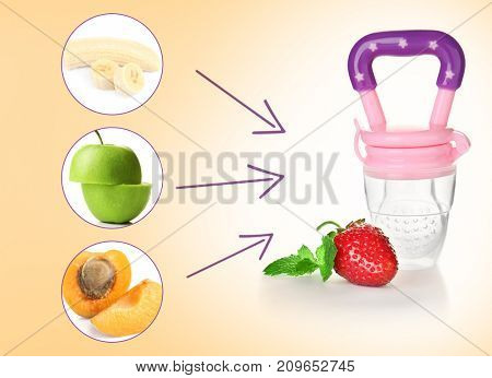Baby nibbler and sliced fruits on color background