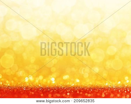 Red Christmas Background with Golden glitter or bokeh lights. 3d rendering
