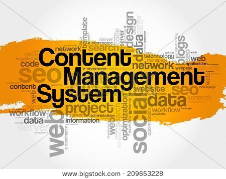 CMS Content Management System word cloud business concept