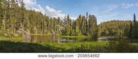 Finland landscape with lake and forest at karhunkierros trail. Nature