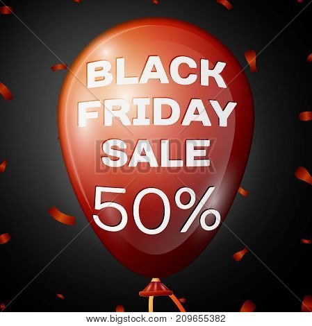 Realistic Shiny Red Balloon with text Black Friday Sale Fifty percent for discount over black background. Black Friday balloon concept for your business template. Vector illustration
