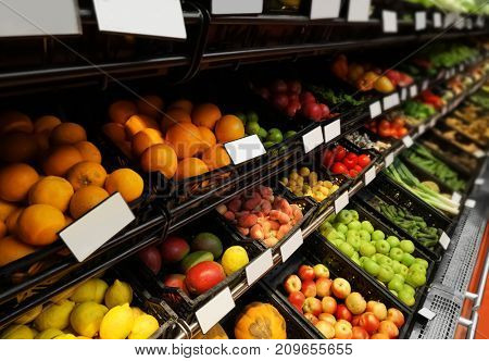 Variety of fresh fruits in supermarket