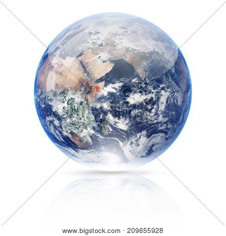 3d illistration of Earth globe isolated on white background. Elements of this image furnished by NASA