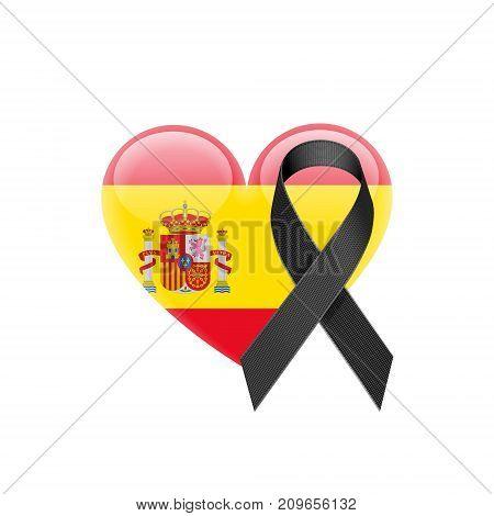 Spanish Flag Heart Icon with Black Ribbon on White Background. Vector illustration