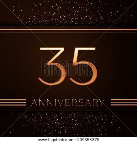 Realistic Thirty five Years Anniversary Celebration Logotype. Golden numbers and golden confetti on brown background. Colorful Vector template elements for your birthday party