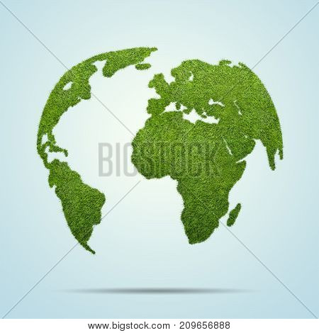 3d illistration of World globe shape of green grass isolated on blue background