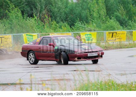 PERM RUSSIA - JUL 22 2017: Drifting car on track during Open Ural Championship Drift 2017