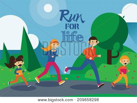 Happy family of dad mom and cute kids have summer jogging in park. Horizontal vector sport illustration. Running people and lettering Run for life.