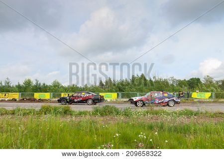 PERM RUSSIA - JUL 22 2017: Two modern drifting cars on track Open Ural Championship Drift 2017