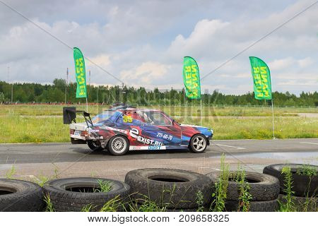 PERM RUSSIA - JUL 22 2017: Drifting fast car on asphalt track at Open Ural Championship Drift 2017