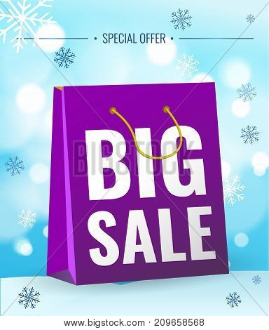 Poster Big sale. Bag on light background with snowflakes. Text on bag - Big sale. Sale new year poster.