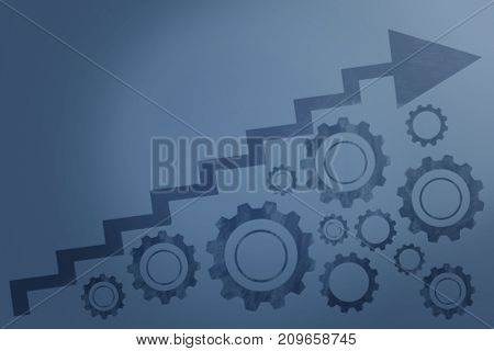 Graphic image of graph with gears against blue shade