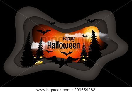 Happy Halloween poster. Night background with cartoon bats realistic clouds firs and full moon. Cut paper art style vector illustration.